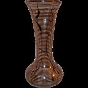 Vintage Art Deco Handblown Sterling Silver Overlay Art Glass Vase