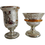 Pair of Late 19th, Early 20th Century Mercury Glass Goblets