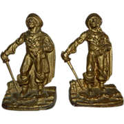 Vintage Pair of Nuart Metal Creations Cast Iron Figural Pirate Bookends