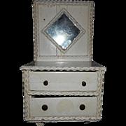Vintage Primitive Tramp Art Doll's Dresser/Child's Jewelry Box