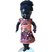 Bisque  Black African doll Koenig Wernicke Germany  221/46 Rare w/Sarong 19 inches