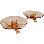 Fostoria Fairfax Amber Glass Candle Holders