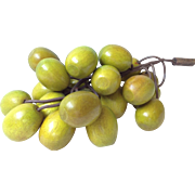 Mid Century Green Wooden Grapes In a Cluster