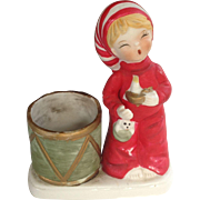 Enesco Handpainted Christmas Bedtime Boy / Girl Candle Holder 1978