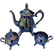 Vintage Silverplate Tea Set With Teapot, Creamer, and Sugar ( Gorham / Alvin )