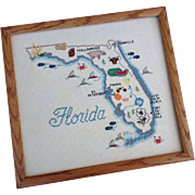 Framed Map Of Florida Vintage Cross Stitch By Sue Hillis Designs
