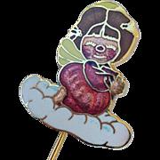 Vintage Enamel Cloisonné Angel Stickpin 1979