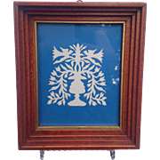 Vintage White On Blue Scherenschnitte Silhouette In Hand Built Frame