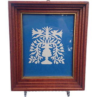 Vintage White On Blue Scherenschnitte Silhouette In Hand Built Frame