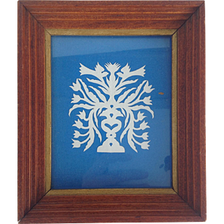 Vintage White On Blue Scherenschnitte Silhouette In Hand Built Frame--Vase With Hearts