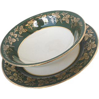 Homer Laughlin Dessert / Berry Bowl And Bread Plate Set Eggshell Nautilus E52N5 N427