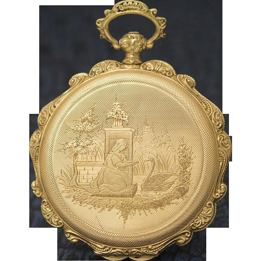 antique swiss geneva golden pocket with