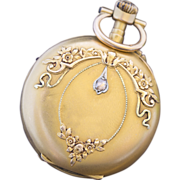 Antique French 18k Gold and Diamond Pocket or Pendant Lady Watch