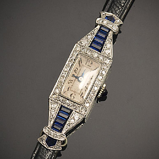 Antique Solid 18k White Gold, Sapphires and Diamonds Lady Wrist Watch - French and Swiss Art Deco 1920/1930 period.
