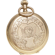 Beautiful Antique Swiss Gold ENGRAVED PUTTY & LANDSCAPE Lady pocket or pendant watch