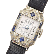 Antique White 18k Gold, Diamonds and Sapphire Lady Wrist Watch - French and Swiss Art Deco period