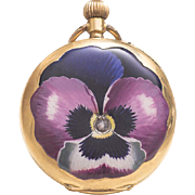 Antique 18k GOLD, ENAMEL & DIAMOND Pocket or Pendant Swiss Lady Watch