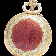 Antique 18k GOLD & ENAMEL French Pocket or Pendant Lady Watch