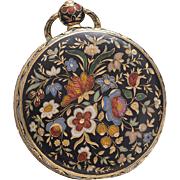 Antique 18k GOLD & CHAMPLEVE ENAMEL Pocket or Pendant Lady Watch 1830s Geneva Swiss