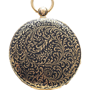 Antique French 18k Gold & Champleve Enamel Flat and Thin Pocket Watch from 1820 - 1830s