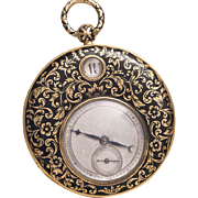 Antique 1820s 18k Gold & Enamel Jumping Digital Hours Flat Pocket Watch