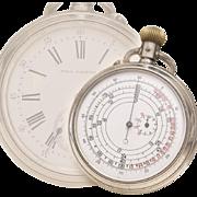 Antique Silver Double-Sided Railroad Chronograph Pocket Watch by Paul Garnier Paris