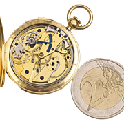 Antique 1840 Miniature 18k Gold Repeating High Quality Pocket Watch in Breguet Manner w/ Parachute