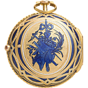 Antique mid-XVIII Gold & Enamel Verge Fusee Pocket Watch by Charles Le Roy