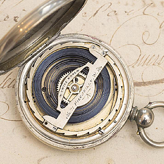 Rare and Heavy 8 days Antique Pocket Watch with Patented Winding System