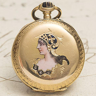 Antique 1900s 18k Gold & Diamonds Lady Pocket Watch with Painted Enamel Portrait of Minerva Goddess