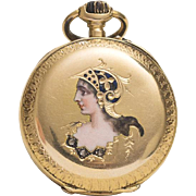 Antique 1900s 18k Gold & Diamonds Lady Pocket Watch with Painted Enamel Portrait of Minerva Goddess