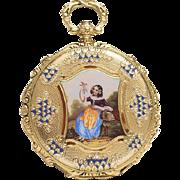 Antique 1830s Gold Lady Pocket Watch with  Painted Enamel Miniature - Geneva school
