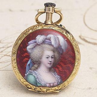 Antique 1900s 18k Gold & Enamel Decoration Lady Pocket Watch