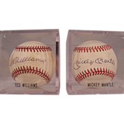 Two Fantastic Hall of Fame Autographed Baseballs by Mickey Mantle and Ted Williams