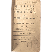 "Set of Books: ""A History of England in a series of Letters from a Nobleman to his son"", Dated 1780"
