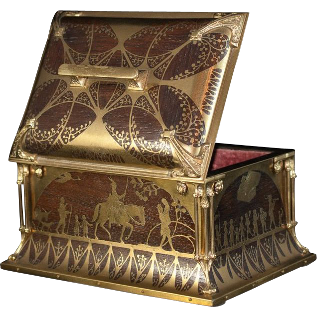 Inlaid Bronze Boulle Art Nouveau Jewelry Casket Box by Erhard Sone