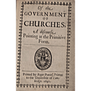 Rare Book: Of The Government of Churches; Dated 1641, Vellum