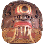 Large South American carved wood tribal mask