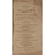 Antique Book: The Analogy of Religion, Natural and Revealed, Dated 1809
