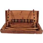 Antique Wooden 1890's Victorian Croquet Set In Original Wood Chest