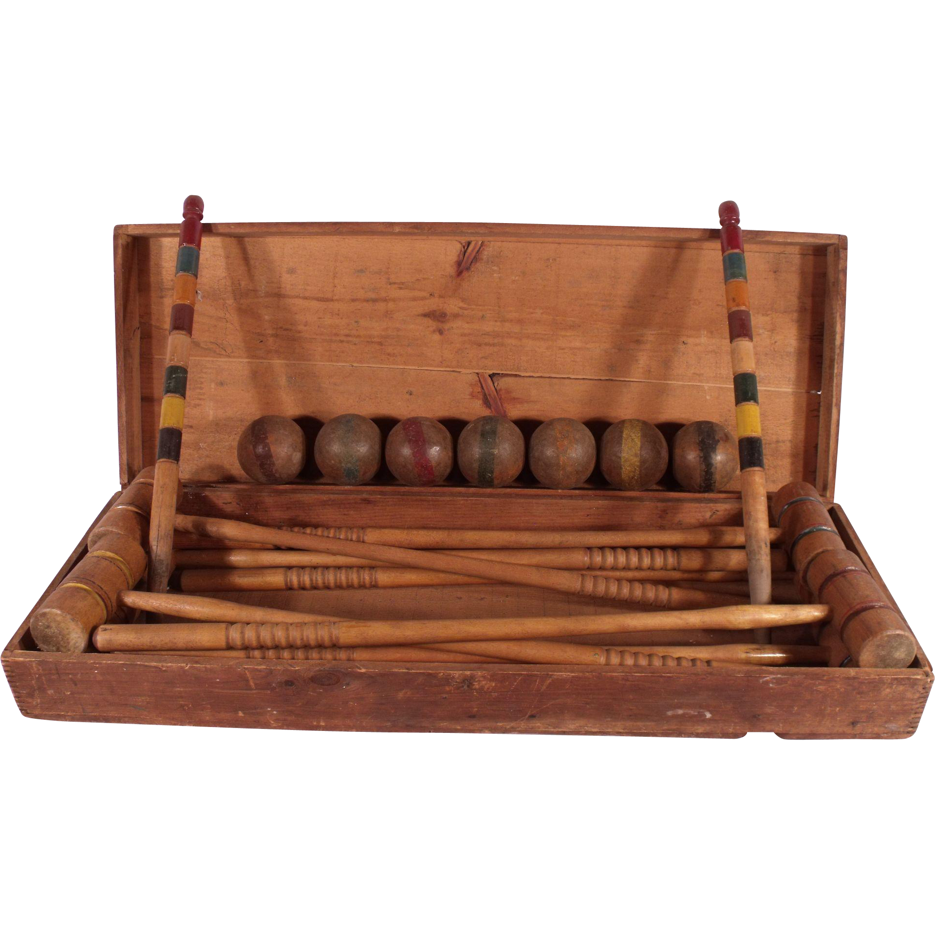 antique wooden 1890 s victorian croquet set in original wood chest the royal jackalope ruby lane. Black Bedroom Furniture Sets. Home Design Ideas