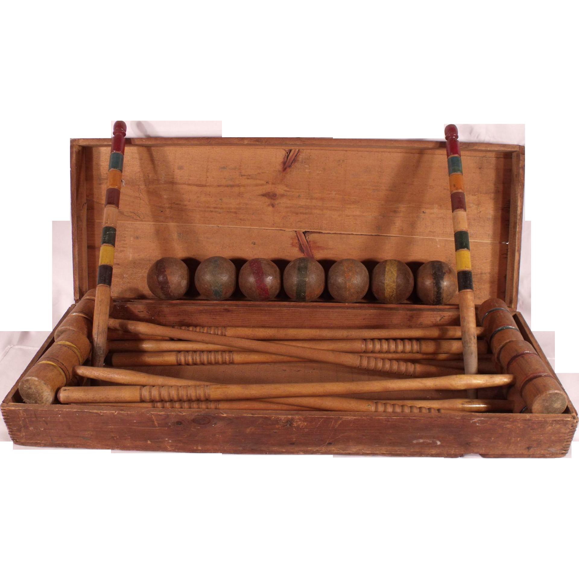 Antique wooden 1890 s victorian croquet set in original for Victorian woodwork