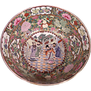 Stunning Antique Large Chinese Export Rose Medallion Center Piece Bowl