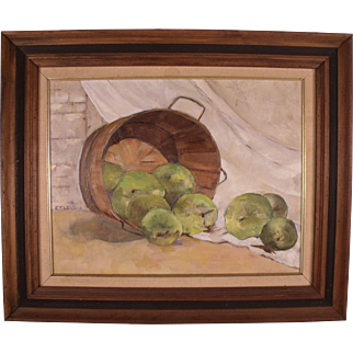 Charming Original Vintage Still Life Oil Painting by Chester County Artist Eyleydon