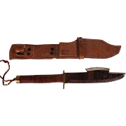 Huge Vintage 1950's Hunting Knife with Axe on Blade