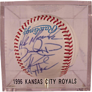 1996 Kansas City Royals Autographed Baseball