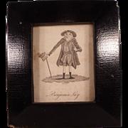 Antique Benjamin Lay Etching in Ebonized Frame