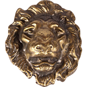 Two 1970's Vintage Lion Head Metal Belt Buckles