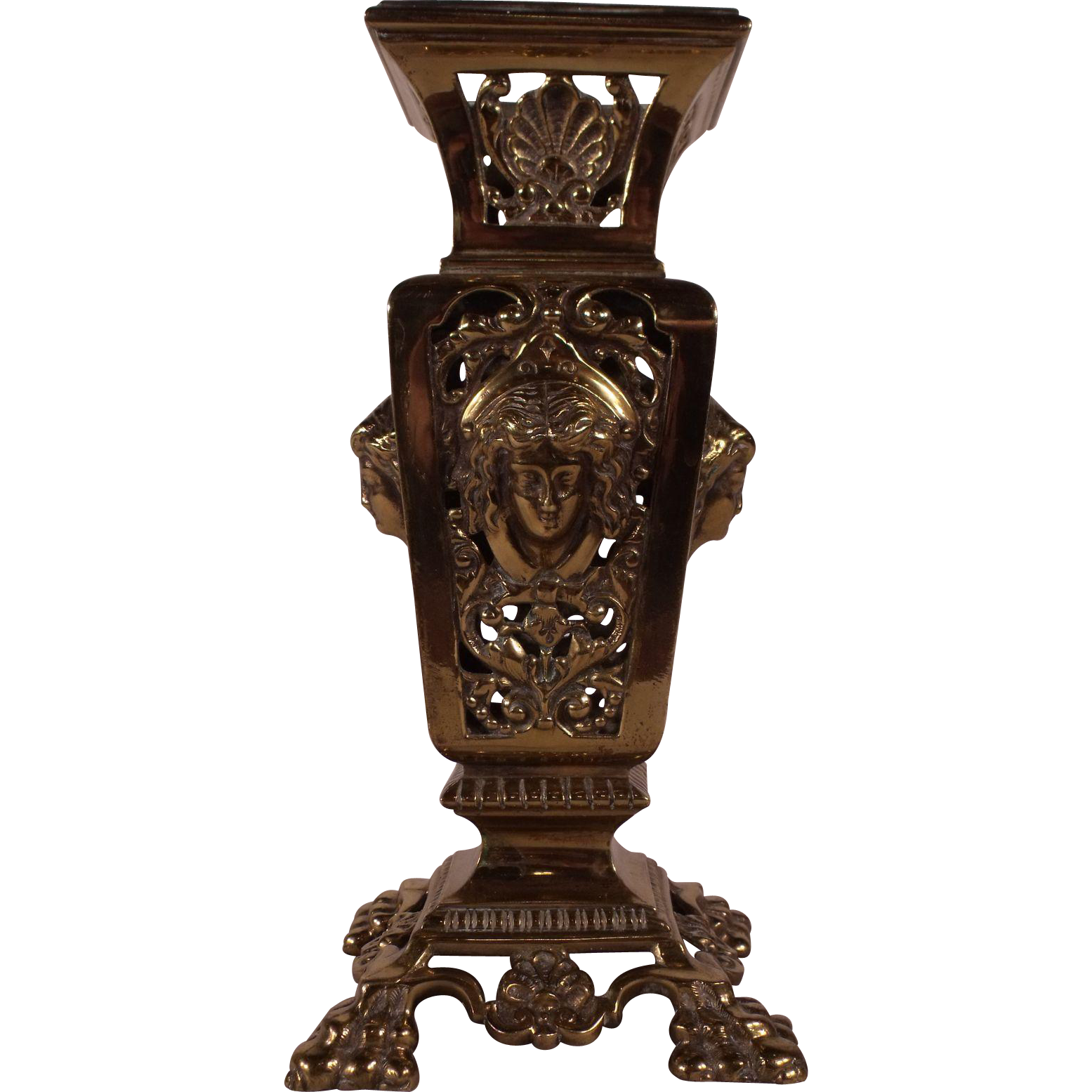 Spectacular antique victorian pierced brass flower vase with spectacular antique victorian pierced brass flower vase with lovely the royal jackalope ruby lane reviewsmspy