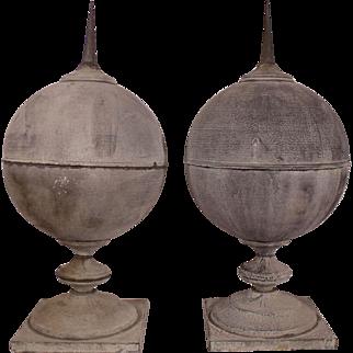 Huge Rare Antique Zinc Finials with gorgeous Patina